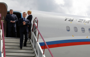 Medvedev arrived in Manila at the APEC summit
