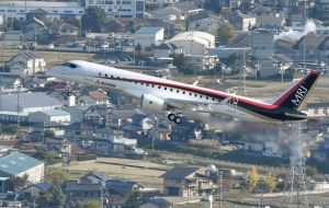 The first Japanese jet aircraft MRJ conducted its third test flight