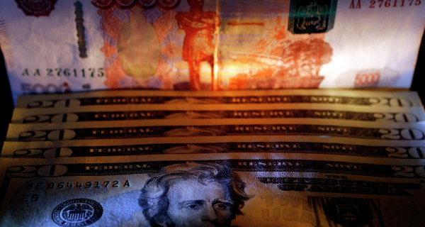 The ruble gained 3 pennies to the dollar and was down 7 cents to the Euro