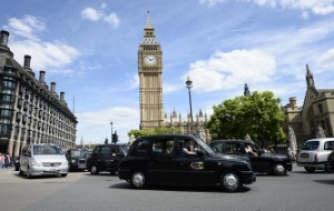 London taxi drivers have blocked one of the Central streets in protest against Uber
