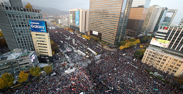 In Seoul at a rally for the resignation of the President came as tens of thousands