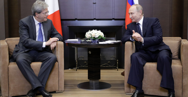 Negotiations of the Russian President with Prime Minister of Italy in Sochi. Video